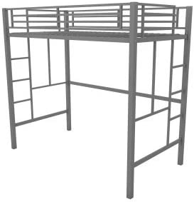 Your Zone Metal Loft Twin Bed by SuperIndoor Metal, Silver