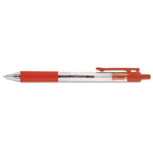 UNIVERSAL OFFICE PRODUCTS 15532 Economy Retractable Ballpoint Pen, Red Ink, Clear Barrel, 1.0 mm Medium