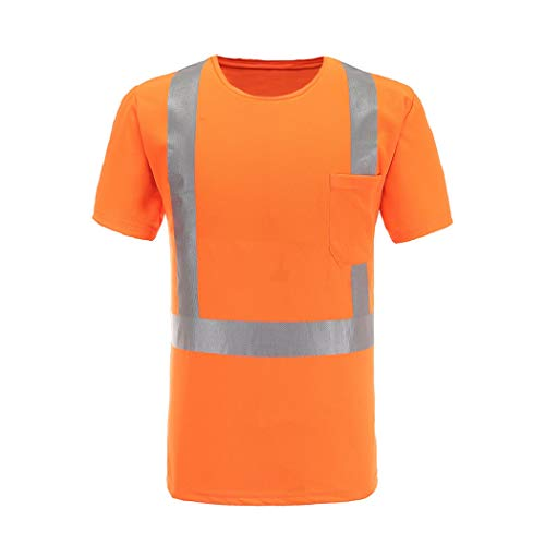 (Reflective Safety Shirts, A-SAFETY, Short Sleeve Shirt with a Pocket Orange for Men&Women, XX-Large)