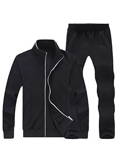 Lavnis Men's Casual Tracksuit Long Sleeve Full Zip Running Jogging Athletic Sports Set (2XL, Black)
