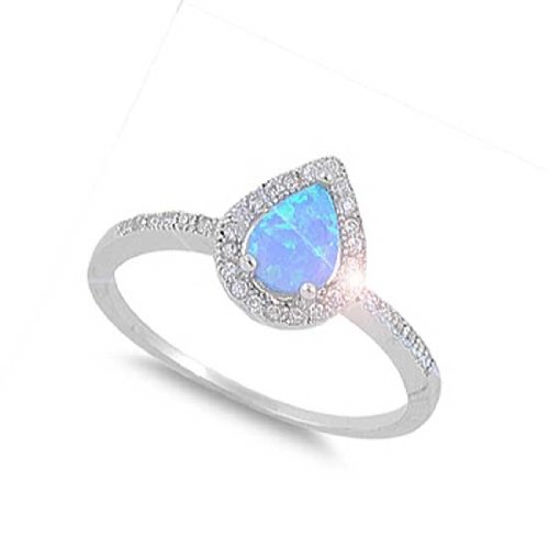 14MM Sterling Silver PEAR TEAR DROP BLUE Lab OPAL CLEAR CZ RING BAND