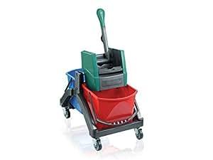 Leifheit Professional - Carro para limpieza en húmedo, color negro, verde y rojo