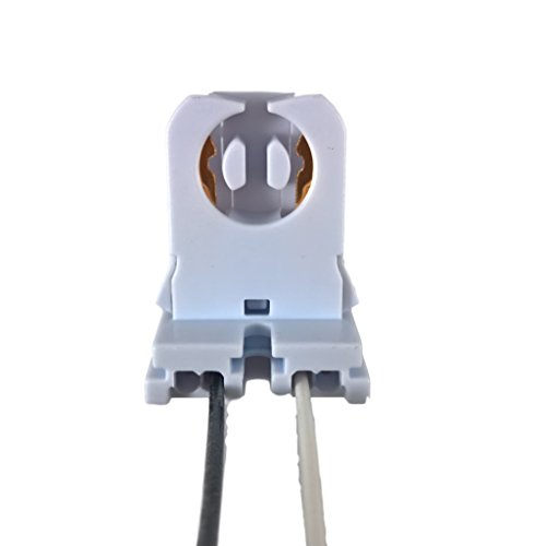 Pack of 15 - UL Listed Non-Shunted T8 Lamp Holder Socket Tombstone with 12 inches Wires Attached for LED Fluorescent Tube Replacements Turn-Type Lampholder by LIGHT YOUR WORLD