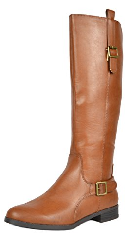 TOETOS Women's Sam Tan Faux Leather Knee High Winter Riding Boots Wide Calf Size 7.5 M US