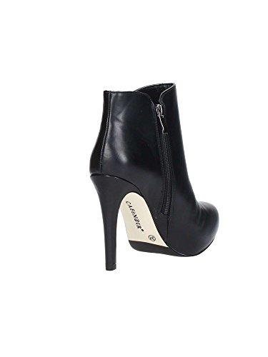 CAF NOIR MF902 zapatos negros botines mujer talón cremallera lateral I16.010 NERO
