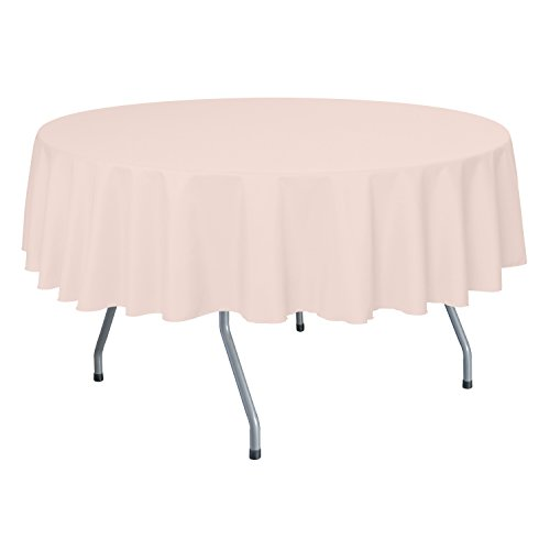 Ultimate Textile 60-Inch Round Polyester Linen Tablecloth Ice Peach (Peach Tablecloth Polyester)