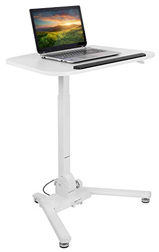 Mount-It! Standing Folding Laptop Cart, Sit Stand Mobile Desk with Height Adjustable 31.1'' x 20.5'' Platform, Supports up to 17.6 lbs, White (MI-7949) by Mount-It! (Image #1)