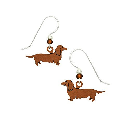 Artisan Sienna Sky Long Haired Doxie Dachshund Earrings with Gift Box