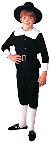 Rubie's Costume Deluxe Pilgrim Boy Costume, One Color, (Kids Deluxe Colonial White Wig)