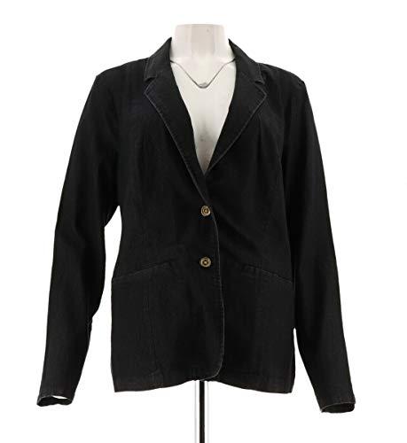 Liz Claiborne NY Denim Notched Collar Blazer FrontPockets Black 10 New A262191 from Liz Claiborne New York