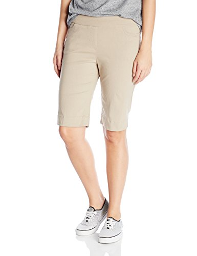 Short Slim Solid Fashion (SLIM-SATION Women's Solid Pull-On Walking Short 12 Inch Inseam, Stone, 16)