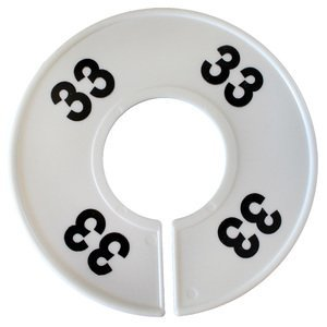 American # 461133,''33'' Round Size Dividers, Size Dividers Round White with Black Numbers (100 per Pack)