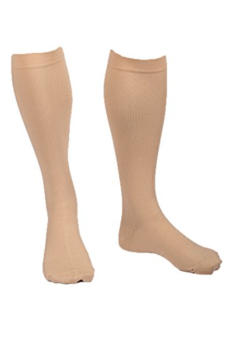 EvoNation Men's USA Made Graduated Compression Socks 15-20 mmHg Moderate Pressure Medical Quality Knee High Orthopedic Support Stockings Hose – Best Comfort Fit, Circulation, Travel (Large, Tan)