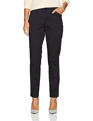 LEE Misses Platinum Label Tailored Chino Pant, Black, Size 12M - Trouser Wide Leg Twill