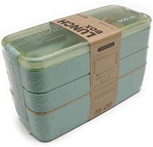 Fiambrera de 3 Capas de 900 ml Fiambrera de Sopa de 600 ml Recipiente para Alimentos Bento Ecológico Material de Paja de Trigo Vajilla para microondas Fiambrera - Verde