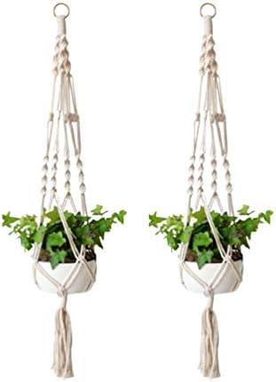Cabilock 2 Stück Makramee Pflanzen Kleiderbügel Innen Hängende Pflanzgefäße Korb Dekorative Blumentöpfe Halter Stehen Boho Home Dekorationen L