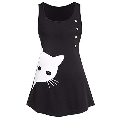Witspace Women's Fashion O Neck Cat Print Button Contrast Tank Top Shirts Blouse