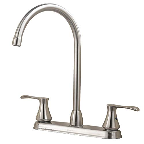 Comllen High Arc Swivel Spout Brushed Nickel Two Handle Kitc