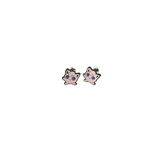 Jigglypuff Costumes (Athena Pokemon Jigglypuff Logo Superhero Comics Cartoon Post Stud Earrings In Gift Box)