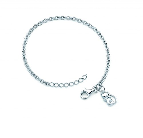 Little Diva Diamonds 925 Sterling Silver .01 Ctw. Diamond Accent Cat Charm Bracelet for Girls