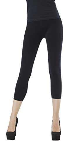 D&K Monarchy Seamless Thin Capri Length Leggings Black Medium (Lightweight Legging)