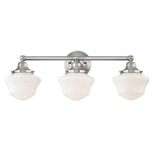 Schoolhouse Bathroom Light Satin Nickel White Opal Glass 3 Light 23.125 Inch Length