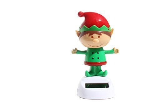 ~ Cute ~ Christmas Dancing Elf ( Santa's Magic Helper ) Bobble Head Solar Toy by KT (Santa Head Bobble)