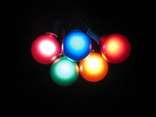 100 Foot Globe Patio String Lights - Set of 100 G50 Assorted Satin Multi-colored Bulbs with Green Cord by Sival