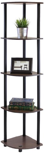 Furinno 99811DBWG/BK TurnNTube 5 Tier Corner Shelf Dark Brown Grain/Black