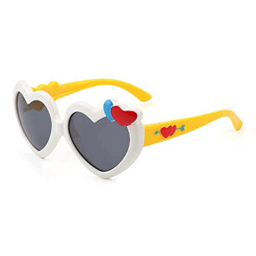 d4f32997239 Kids Heart Polarized Cute Sunglasses Flexible Rubber Children Girls Age 3-12