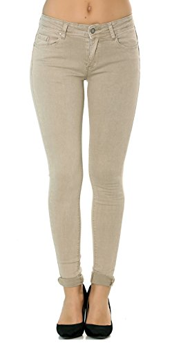 34 Stretch Color Skinny Nina Jeans De Mujer Talla 42 Pantalones Beige A Carter Vaqueros Solapas Slim xf0w1AwPqR