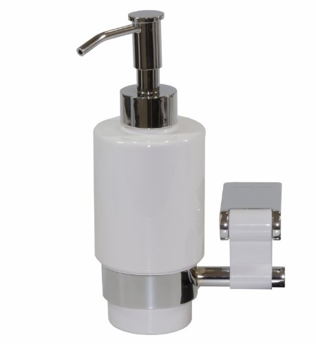 Iris Wall Soap Dispenser, Brass Polished Chrome & White Ceramic Bottle, Wall Mounted, Bathroom Accessories, Made in Spain (European Brand) (Dispenser Soap Iris)