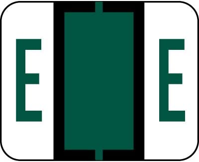 AMZfiling Alphabetic Color Code Labels, Compatible with Smead BCCR- Letter E, Dark Green (120/Package)