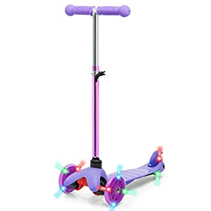 Best Choice Products Kids Mini Kick Scooter w/ Height Adjustable T-Bar (Purple)