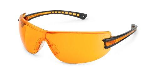 Gateway Safety 19GB77 Luminary Wraparound Eye Safety Glasses with Temple Technology, Orange Lens, Black Temple, Orange Inset