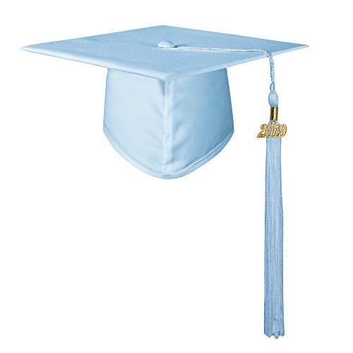 GraduationMall Unisex Adult Matte Graduation Cap with 2019 Tassel Sky Blue