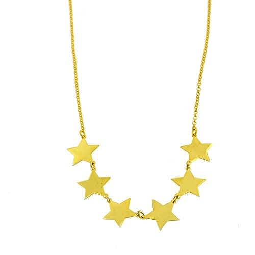 Argento A Sterling Giallo Oro 6 In Stelle Collana Placcato 925 qpIwYId