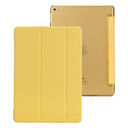 iPad Air 2 Case,THZY Smart Cover + Transparent Back Cover(Ultra Slim, leicht, kratzfeste Auskleidung, Perfect Fit, Automobil Wachen/ Schlafen Funktion) fuer iPad Air 2 [2014 Release] -- Gelb