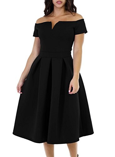 Lovezesent Women Sexy V Neck Off The Shoudler Flare Midi Little Black Party Dresses Cocktail Formal Evening Medium