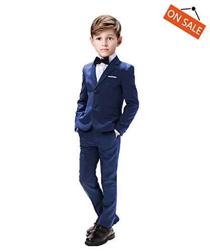 Suit for Boys Wedding 5 Pieces Suits Sets Blazer Vest Pants Shirt and Bowtie Size 8 Blue ()