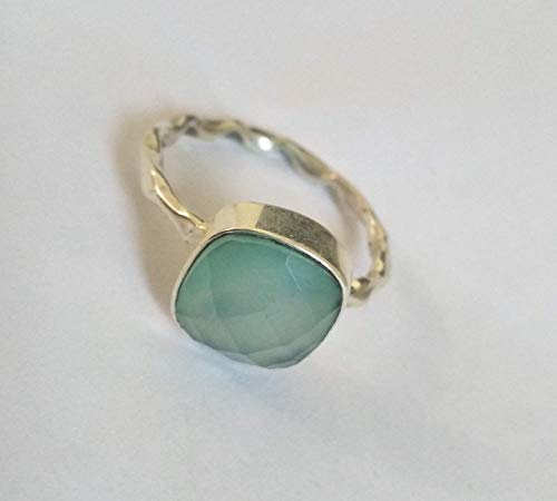 (Aqua Chalcedony Ring, 925 Sterling Silver Ring, Mermaid Gift, Promise Ring, Healing Crystal, Cushion Shape Ring, Classic Ring, Elegant Ring, Bridal Ring, Natural Ring, Gift Girlfriend, US All Size)