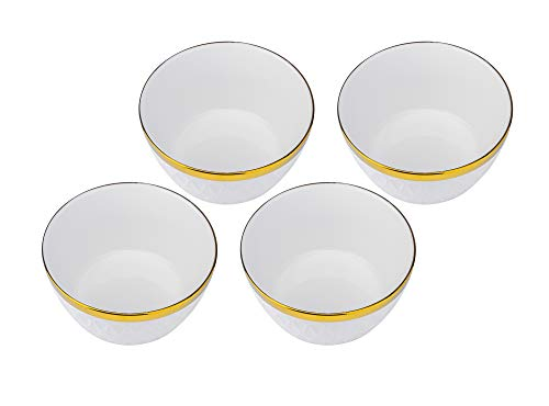 (Yedi YCC752, 5-1/2'' Fine Porcelain Cereal Bowl, Ceramic Deep Soup Dish, Bone China Cereal Bowls, Set of 4)