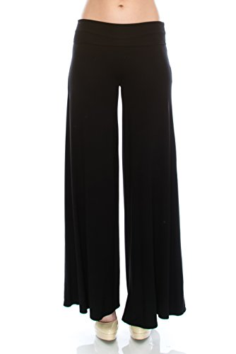 DELOA Womens Palazzo Lounge Pants Made in USA Black Medium