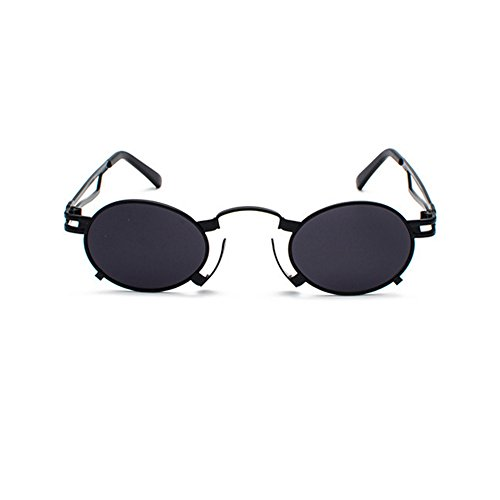 rétro Cercle Cadre Punk étui inspiré Lunettes avec soleil lunettes de Lunettes Chasingdream en Round Vintage Lens Noir femmes Steam hommes Noir soleil de pour métal Cq56x7Uw