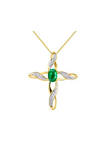 Diamond & Emerald Cross Pendant Necklace Set In Yellow Gold Plated Silver .925 with 18