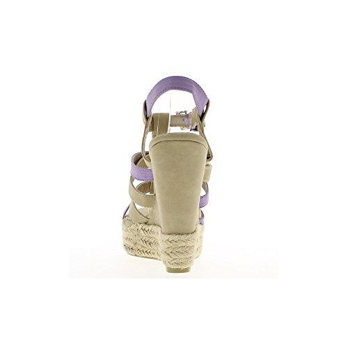 Sandales compensées beige et violet à talon de 13cm et plateforme