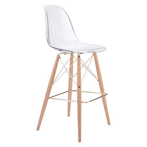 Zuo Modern 100261 Shadow Bar Chair, Transparent Polycarbonate Seat/Back, Tapered Beech Wood Legs, Dimensions 20.3