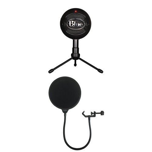 Price comparison product image Blue Snowball iCE Condenser Microphone,  Cardioid - Black with Dragonpad USA Pop filter Studio Microphone Mic Wind Screen Pop Filter