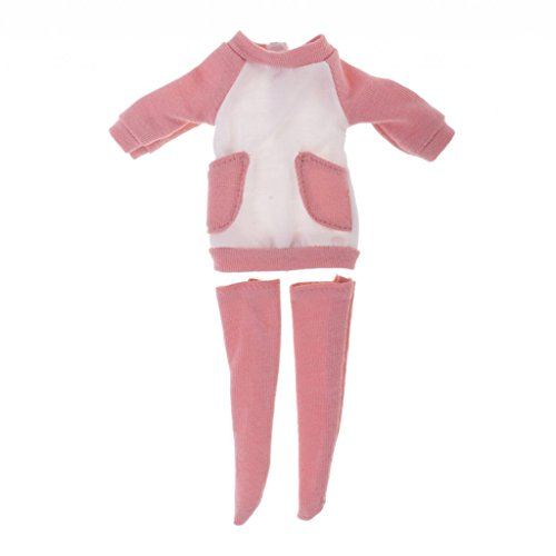 MagiDeal Cute Light Pink Long Sleeve Dress & Socks Set for AZONE Licca 1/6 Blythe Doll Outfit Clothes - Licca Dress Set