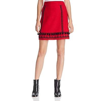 Kate Spade Womens Pom Wool Blend Pom-Pom Trim Mini Skirt